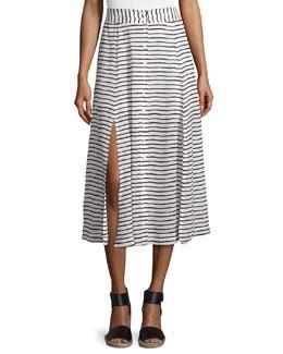 Revoir Button Striped Midi Skirt, Black/White