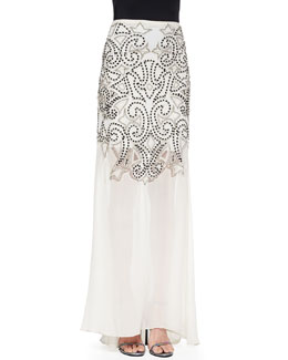 Rizo Flowy Sequined Illusion Hem Skirt