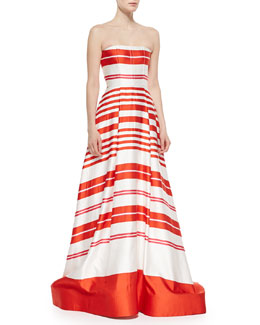 Aubrey Striped Strapless Ballgown, Orange/White