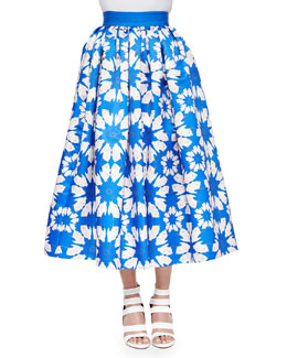 Molina Floral-Print Tea-Length Ball Skirt