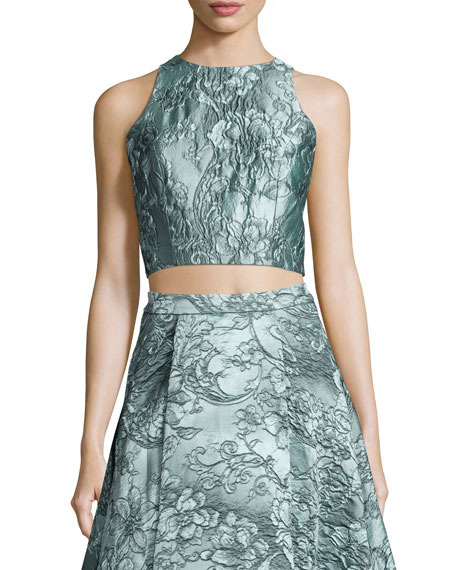 Alice + Olivia Sleeveless Floral Jacquard Crop Top
