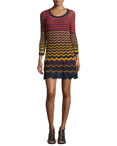 Long-Sleeve Greek Key Knit Dress