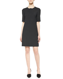 Slyra Half-Sleeve Crepe Dress, Black