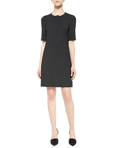 Slyra Half-Sleeve Crepe Dress, Black