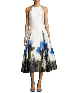 Sabrina Halter Floral-Print Dress