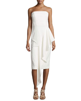 Strapless Cascading Ruffle Dress, White
