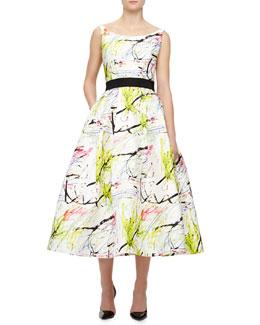 Sleeveless Scribble-Print Tea Dress, White, Multicolor