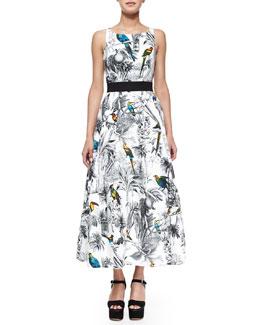 Serena Tropical-Print Crisscross-Back Midi Dress