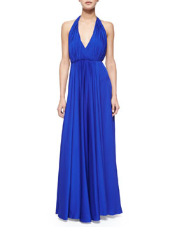 Georgina Halter V-Neck Maxi Dress