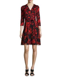 Irina Floral-Print Combo Wrap Dress