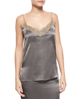 Izabella Lace-Trim Silk Tank, Brushed Nickel