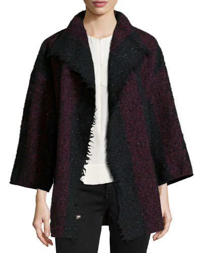 Beverly Striped Knit Jacket, Black/Red