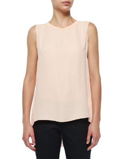 Ann Sleeveless Pleated-Back Blouse