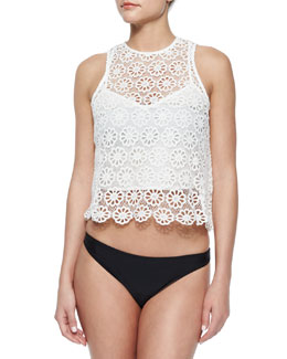 Micha Daisy Crochet Cropped Tank, White