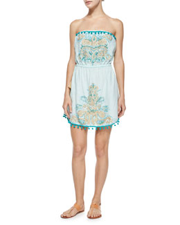 Villy Embroidered Strapless Dress, Alight