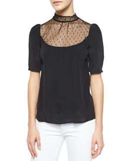 Point D'Esprit Bow-Back Blouse