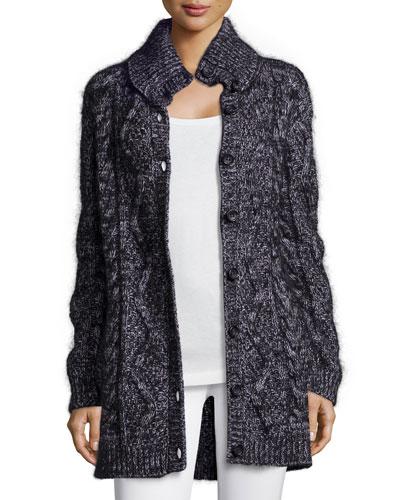 Chunky Wool-Blend Long Cardigan