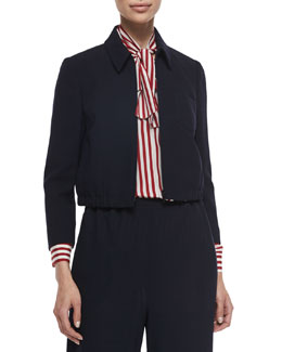 Cropped Zip-Front Jacket