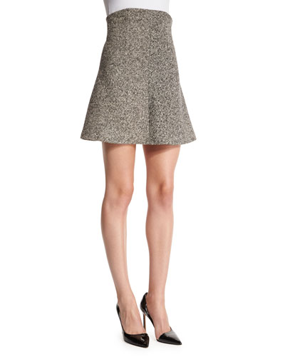 High-Waist Tweed Fluted Skirt