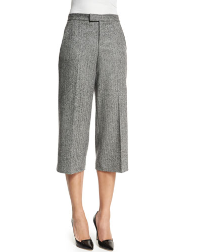 Wide-Leg Tweed Capri Pants