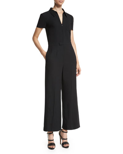 Short-Sleeve Zip-Front Cropped Jumpsuit
