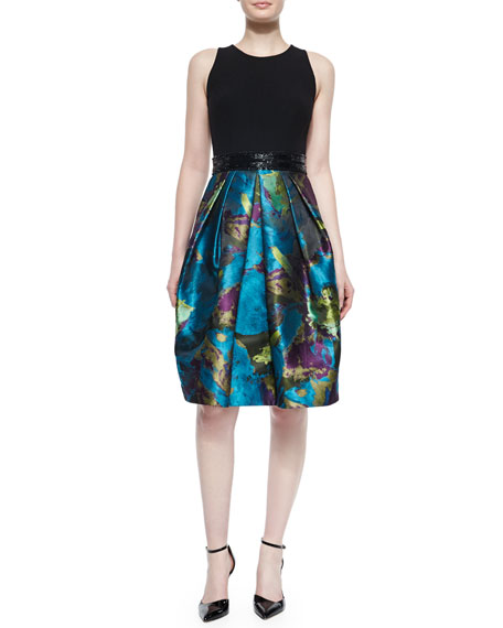 Sleeveless Crewneck Printed Cocktail Dress, Black/Peacock