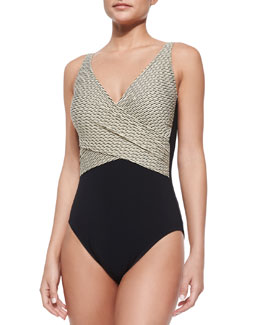 Two-Tone One-Piece Swimsuit