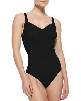 Lattice-Wrapped One-Piece Swimsuit