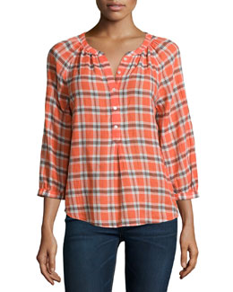 Selma Plaid Blouse, Orange Glaze