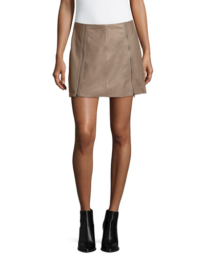 Loula Double-Zip Mini Skirt