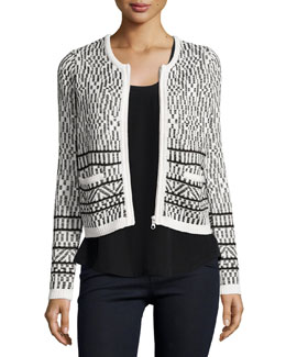 Jacolyn Tile Jacquard Tweed Jacket