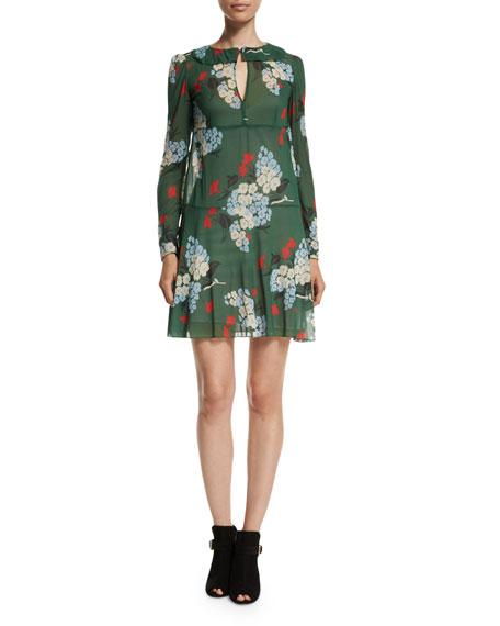 Long-Sleeve Bouquet-Print Dress