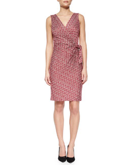 Bella Dot-Diamond-Print Tie-Waist Wrap Dress, Purple
