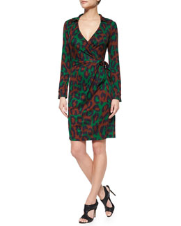 Savanna Leopard-Print Wrap Dress, Medium Green