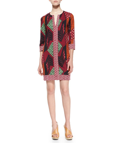 Rose Collage-Print Silk Dress