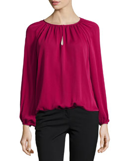 Long-Sleeve Hathaway Silk Blouse, Raspberry Coulis