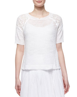 Patchwork Textured Short-Sleeve Top, Chalk