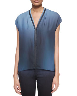 Kaylee Sleeveless Zip-Front Blouse