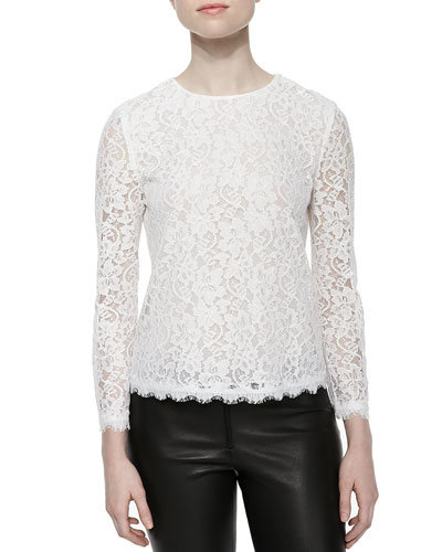 Brielle Long-Sleeve Lace Top