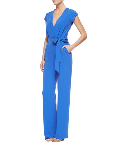 Riviera Wrap-Front Jumpsuit with Self-Tie