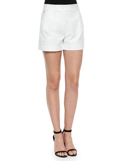 Hattie Pleated-Front Woven Shorts