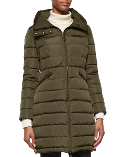 Flammette High-Neck Puffer Coat, Olive