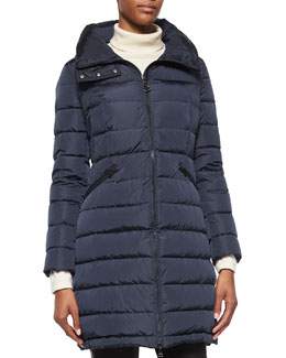 Flammette High-Neck Puffer Coat, Navy