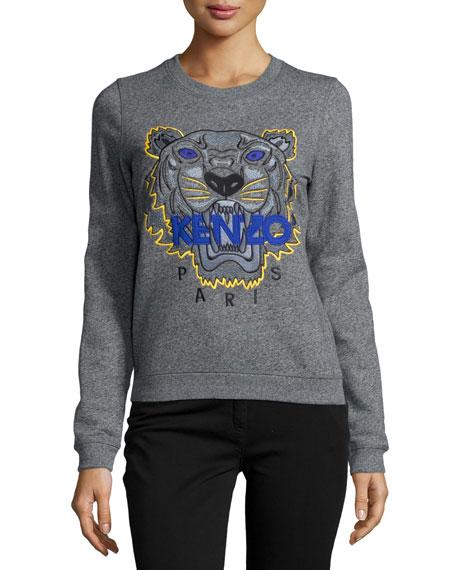 Icon Tiger-Embroidered Sweatshirt, Anthracite