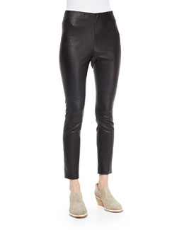 Simone Leather Ankle Pants, Black
