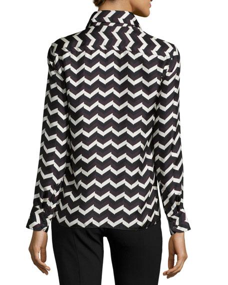 Faye Chevron-Print Silk Skirt