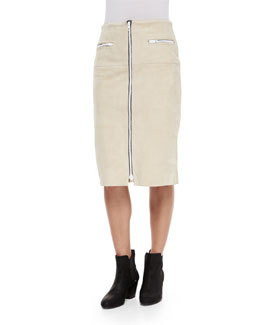 Allison Front-Zip Suede Skirt