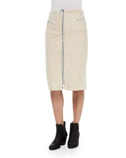 Allison Front-Zip Suede Skirt