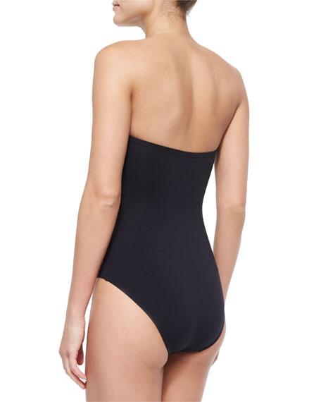 Bandeau One-Piece Swimsuit, Black