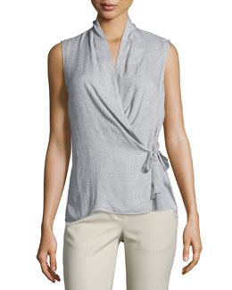 Sleeveless Surplice Top, Light Gray